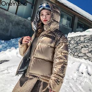 Oneyisha Kadınlar Çift yüzlü Aşağı Ceket Kapşonlu Kış Down Coat Bayan Parlak Kısa Kalın Parka 2020 Sıcak Palto İçin Kadın