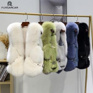FURSARCAR Natural Real Fox Fur Vest Fashion Street Sleeveless Waistcoat Adjustable Waist Belt Luxury Women Winter Warm Outwear 201016