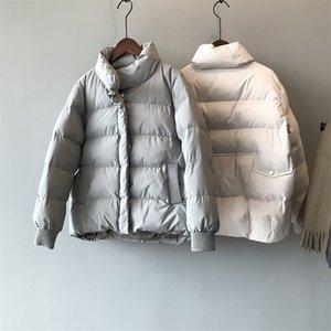 Kış Yeni Kalınlaşmış Sıcak Ekmek Aşağı Pamuk Caot Kadın Kore Gevşek Boyun Pamuk Ceketler Kadın 201027
