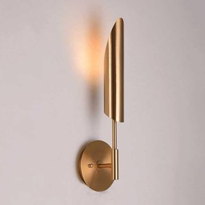 Minimalista Bronce Foyer LED Light Lights Fixtures Dormitorio moderno Aisle Lámpara de pared Nordic Loft Corridor Luminaria MJ1014