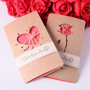New Happy Birthday Gift Postcard Retro Envelope 3D Pop Up Greeting Card Paper Origami Handmade Valentine Day Laser Cutting