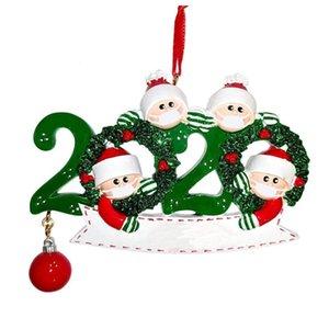 Sobrevivente árvore Pendant Natal da família de isolamento PVC Máscara do boneco de neve de suspensão Greetings Pendant Amazon DIY Nome Decoração 3D ornamento GWD2038