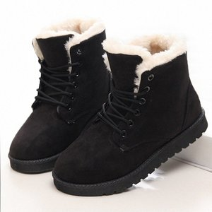 Hot Sale Boots Women Ankle Boots Plush Warm Women Lace Up Winter Waterproof Black Platform Winter 2019 wXMC#