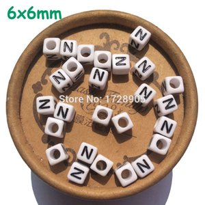 Letter Charms Beads Acrylic Single Alphabet Beads 6 mm 2600 pcs Square Cube Child Pendant Bracelet Jewelry Findings 201013