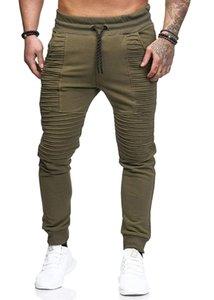 Mens Joggers Sweatpants Pants Male Casual Homme Pantalones Hombre Personality Pants Double Pocket Pleated Lace Up Waist