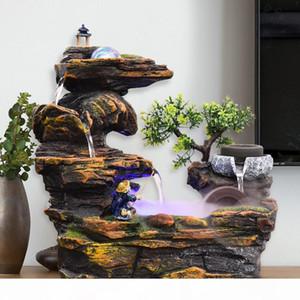 110V 220V Rockery-Wasser-Brunnen Dekoration Indoor Tischspringbrunnen Wasserfall Feng Shui Rad Wohnkultur Zubehör Glück Geschenk