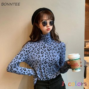 T-shirt a maniche lunghe Donne vintage TurtrleNeck Leopardo Tees Lady Popular Design Ins All-Match College Retro 2021 Slim Temperament