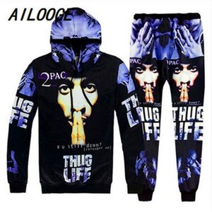 AILOOGE Hip Hop Men 3D Hooded Tracksuits Sets Printing 2Pac Tupac Fashion Hoodies Sweatshirt and Pants Pullover S-2XL 201109