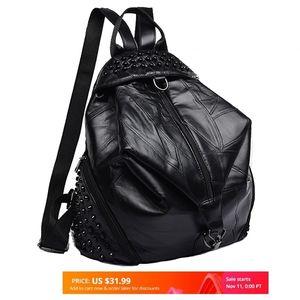 2020 Rivets Women Shoulder Bag Female Sheepskin Genuine Leather High Quality Ladies Woman School Backpack Teenage Girls Q1113