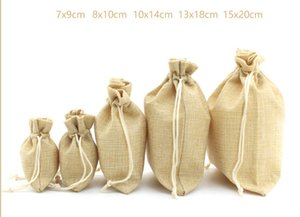Solid color Linen bag Natural Burlap Bags With Jute Drawstring Gift Bags Wedding Party Favors Jewelry Pouch Snack Sacks