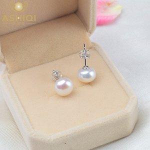 ASHIQI naturale perla orecchini 2020 Trendy per le donne reali 925 Sterling Silver Jewelry regalo all'ingrosso