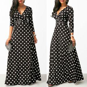 Designer Women Long Maxi Dresses Bohemia V-neck Three Quarter Sleeve Dots Print Ethnic Beach Female Stylish Style Dress