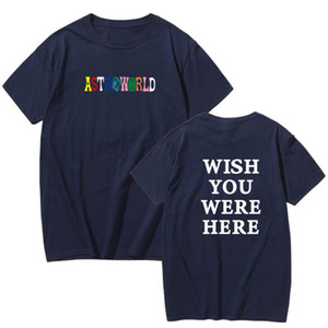 2019 New Fashion Hip Hop T Shirt Men Women Travis Scotts Astroworld Harajuku T Shirts Wish You Were Here Letter Print Tees Tops jllynH