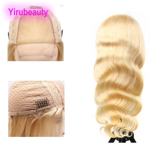 Hint İnsan Saç Sarışın Renk 12-32inch 4 * 4 Dantel Açık Peruk ile Bebek Saç Uzun İnç Vücut Dalga Düz Stil