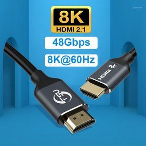 Разъемы аудио кабелей 2.1 кабель 8K 60Hz HDR 48GBPS Ультра высокая скорость 4K 120HZ для монитора проектора PS4 HDTV Computer1