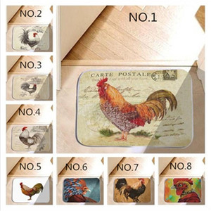 """24""""X16"""" Fashion Rooster Water-absorb Floor Bath Mat Toilet Room Memory Foam Coral Anti-slip Personalized Doormat"""