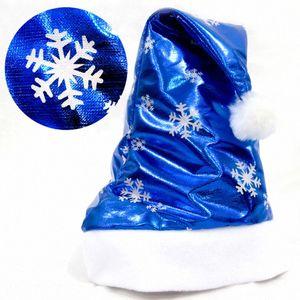 1Pcs Cute Christmas Decorations Blue Bright Cloth Hats Christmas Ornaments Kids Adults Santa Cap Ordinary H38cmxW29cm U5Me#