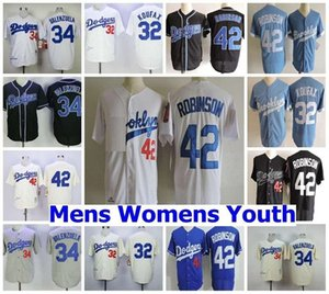 Hombre Mujeres Niños 1955 Brooklyn # 32 Sandy Koufax Jersey # 42 Jackie Robinson # 34 Fernando Valenzuela cosidas Royal Crema Jerseys
