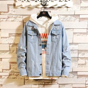 2021 Hombres Nueva Moda Denim Streetwear Jacket Ropa Masculino Cowboy Slim Fit Abrigos Abrigos Abrigos Cardigan Casual Outerwear M-3XL
