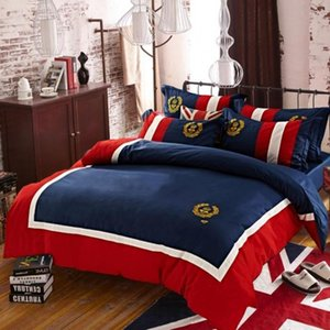 Embroidered English badge Bedding Set brand 4pcs Duvet Cover Bed Sheet Pillowcas Bed Linen Full Queen King BedGQ