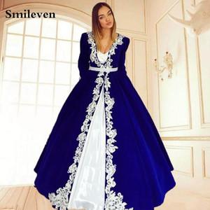 Smileven Blue Meloccan Kaftan вечерние платья белые кружевные аппликации женщины мать мать арабский мусульманский особый случай платья