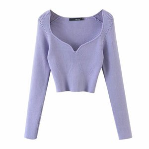 DEAT 2020 Autumn Short Square Collar Thin Knitted Pullovers Sweater Loose Fit V-Neck Long Sleeve Women New Fashion Tide 13U090 A1107