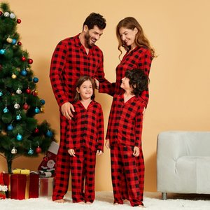 Patpat Family Correspondência Polo Collar xadrez de Natal pijamas conjuntos (resistente à chama) Família de festa F1221