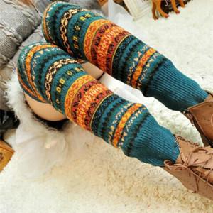 Socks Wool Leg Warmers Hosiery Sock Womens Legwarmers Print Stylish Crochet Fashion Winter Vintage Thick Knitted Cotton Blends 201012