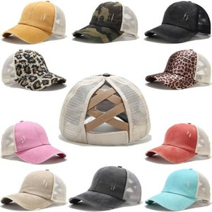 12 Colors Ponytail Baseball Cap Messy Bun Hats For Women Washed Cotton Snapback Caps Casual Summer Sun Visor Outdoor Hat DWF2337