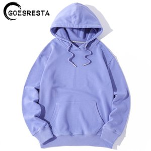 Goesresta New Autumn Mens Hoodies con capucha de algodón de gran tamaño Hip Harajuku Pure Hooded Casual Streetwear Streetwear Hoodies de manga larga Mujeres 201104