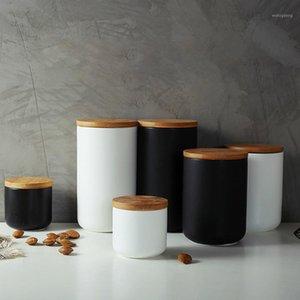 الإبداعية الشمال المطبخ السيراميك ختم خزان متنوعة الحبوب تخزين القهوة التوابل تخزين خزان حزام غطاء WJ711