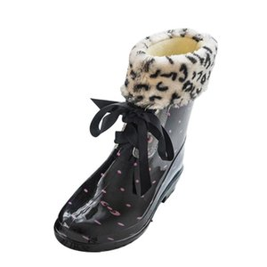 Free Shipping Floral Print Women Rain Boots Warm Snow Boots with Fur Bow Lace Up Women Water Shoes Rainboots Garden BootsXKD2190