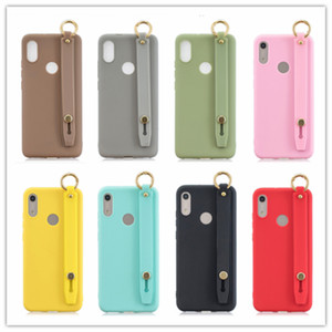 Fahion Lady Wrist Strap Plain Color Phone Case For iPhone 11 Pro MAX 7 X 6S 8 Plus XS MAX XR Matte Soft TPU Silicone Cover For 12 11