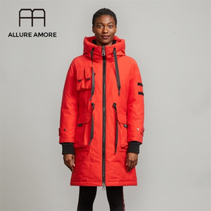 Allure Amore Kapşonlu Bayanlar Kirpi Pamuk Ceket Uzun Parka Uzun Beyaz Ördek Kadın Aşağı Ceket Sıcak İş Giysileri AA1906302 201212