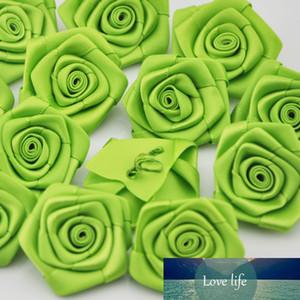 Newborn Handmade Lovely Mini Satin Ribbon Rolled Fabric DIY Rose Flowers For Girl Hair Accessories Dress A056
