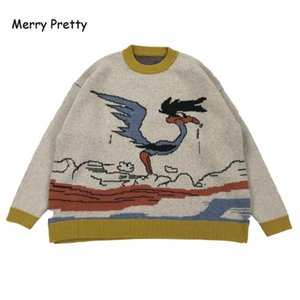 MERRY PRETTY Мультфильм Птица Knit Перемычка Осень Зима женщин пуловер свитер O-образным вырезом с длинным рукавом женщин свитера и пуловеры