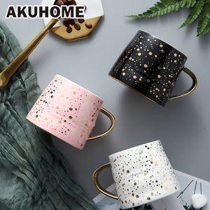 Seramik Kahve Mug Süt Kupası Drinkware Starry Sky Desen çay fincanı Basit ve Yaratıcı Kupalar Beyaz Siyah Mugtea Kupası Akuhome 201029