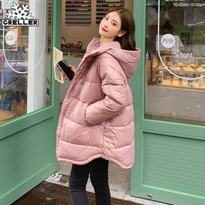 GRELLER New Long Hooded Parka Winter Jacket Women Warm Thick Cotton Down Jacket Coat Female Long Winter Coat Women Clothing 201106