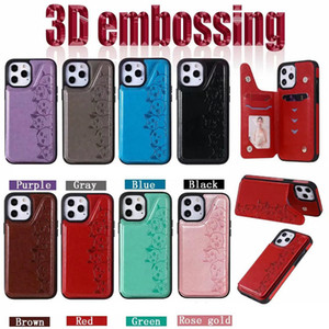 Cat ID Card Pocket Box Case For Iphone 12 2020 11 Pro X XR XS MAX 8 7 6 Samsung S20 Note 20 Cute Slot Leather Holder Stand Back Cover Flip