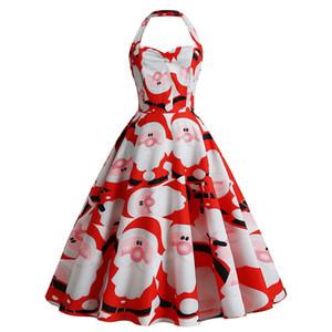 2020 Women's Fashion Christmas Casual Dresses Halter Black Red Christmas Gift Empire Santa Claus Dresses Printed Vintage Dresses