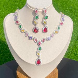 Multicolor Zircon Water Drop Pendant Necklace and Earrings Wedding Jewelry Set, Women Africa Nigeria Set Necklace