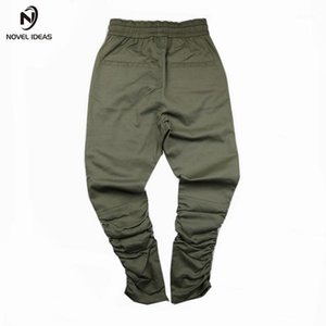 Novas idéias 2018 primavera hip hop lado fecho de zíper moda calças de lápis homens calças skinny calças1