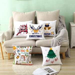 Nanacoba Weihnachten Cartoon Deer Kissenbezug Xmas Tree Bell-Druck Kissenbezug für Heim Sofa Dekor Plüsch Kissenbezug CN (Origin)