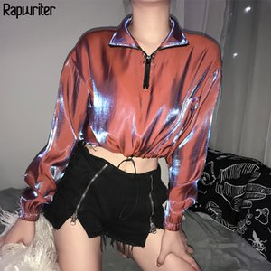 Rapwriter Fashion Turtleneck Zipper Drawstring Hem Harajuku Discolor Sweatshirt Women Autumn Long Sleeve Crop Top Pullovers 201019