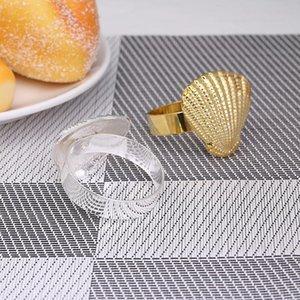 4pcs / métal Ocean Series Shell Sandkin anneau de table Décoration décoration de la décoration utilisée pour la collecte de la famille et les occasions occidentales