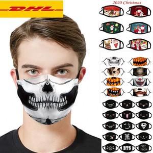 DHL Navire 2020 fête de Noël Halloween débarbouillette PM2,5 Masque Filtre coton Etats-Unis Femme Homme Enfant Mode hiver concepteur Lavable Lumious Mask