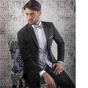 Black Groom Men Suit Tuxedos Shawl Lapel Terno Slim Fit Wedding Dress Christmas Wedding Suits for Men (Jacket + Pants + Vest)