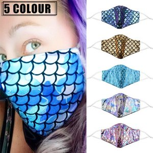 Colorful mermaid face mask with filter pocket sequin rainbow anti dust face covers laser washable  masks AHB2897
