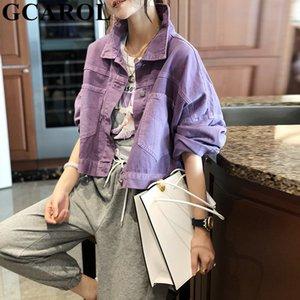 GCAROL Women Short Denim Coat Drop Shoulder Oversized Purple Pink Trend Loose Denim Jacket 2 Pockets Cropped Coat For 4 Season 201012