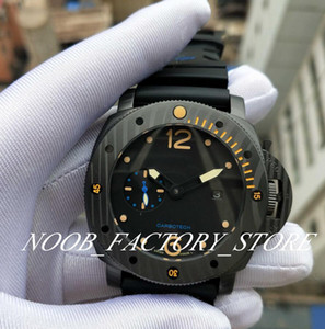 New Black Classic 47mm Black Face Rubber Strap Super P 00616 Mechanical Ceramic Bezel Automatic Movement Fashion Diving Mens Watches